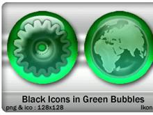 Black Icons in Green Bubbles