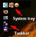 Taskbar and system tray