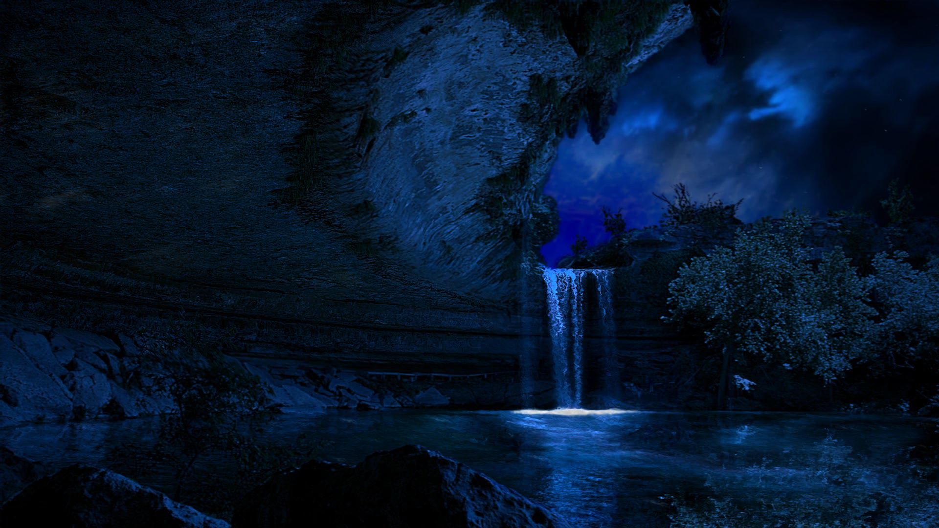 Lake Night Waterfall HD